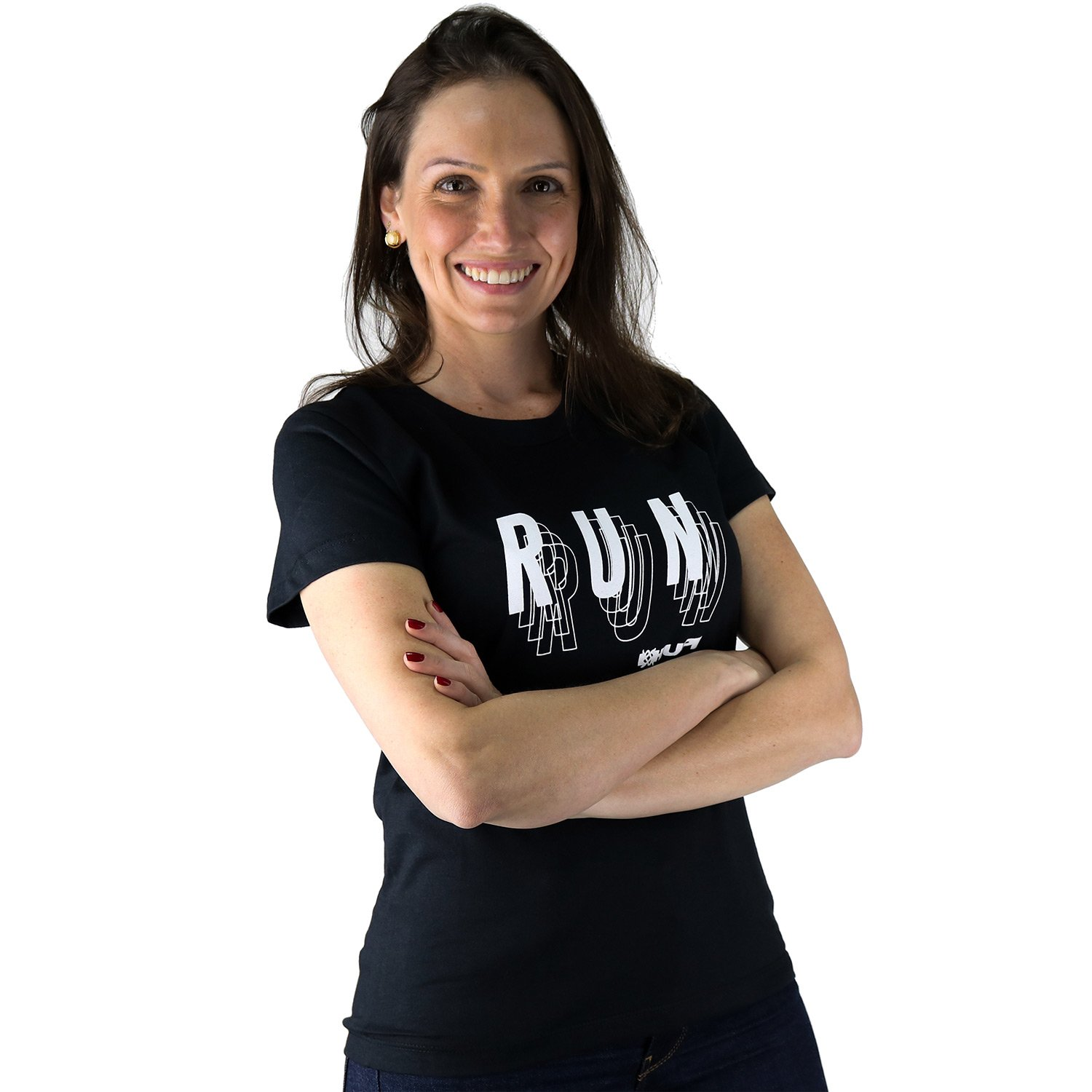 Camiseta Casual HUPI Run Preta Baby Look