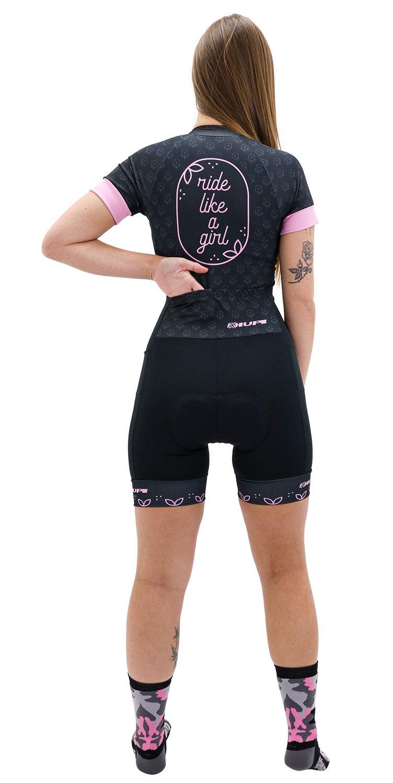 Macaquinho Ciclismo HUPI Like a Girl Manga Curta Rosa