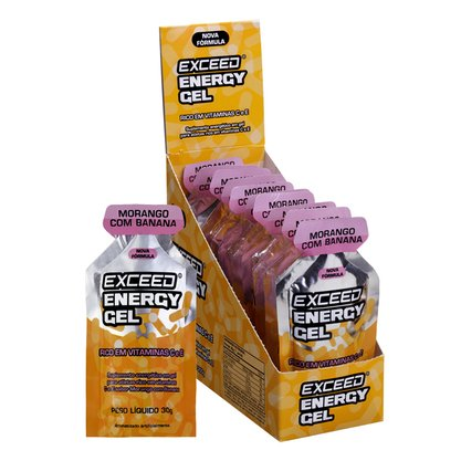 Exceed Energy Gel Sabor Morango com Banana - Caixa C/ 10