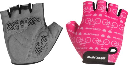 Luva HUPI Eco Dedo Curto Love Bike Rosa