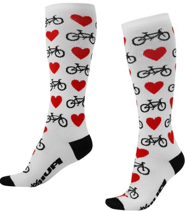 Meia HUPI Longa Love Bike Branco