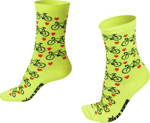 Meia HUPI Love Bike Amarelo Neon