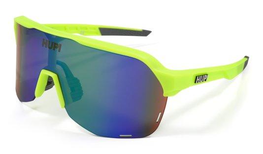 Óculos de Sol HUPI Huez Amarelo Neon/Cinza - Lente Azul Espelhado