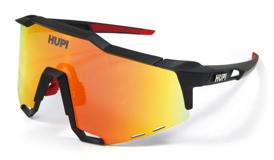 Óculos de Sol HUPI Stelvio Preto/Vermelho - Lente Vermelho Espelhado
