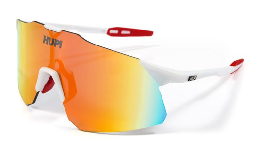 Óculos HUPI Angliru Branco/Vermelho - Lente Vermelho Espelhado
