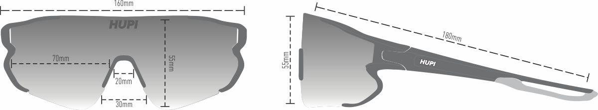 Óculos de Sol HUPI Bornio Cristal/Preto - Lente Azul Espelhado