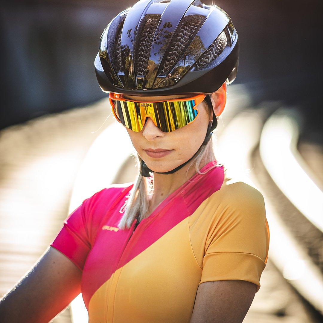 Óculos de Sol HUPI Bornio Laranja/Preto - Lente Laranja Espelhado