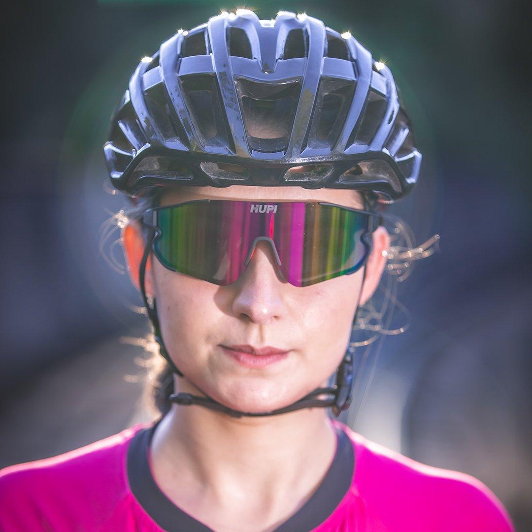 Óculos de Sol HUPI Bornio Preto/Vermelho - Lente Rosa Espelhado