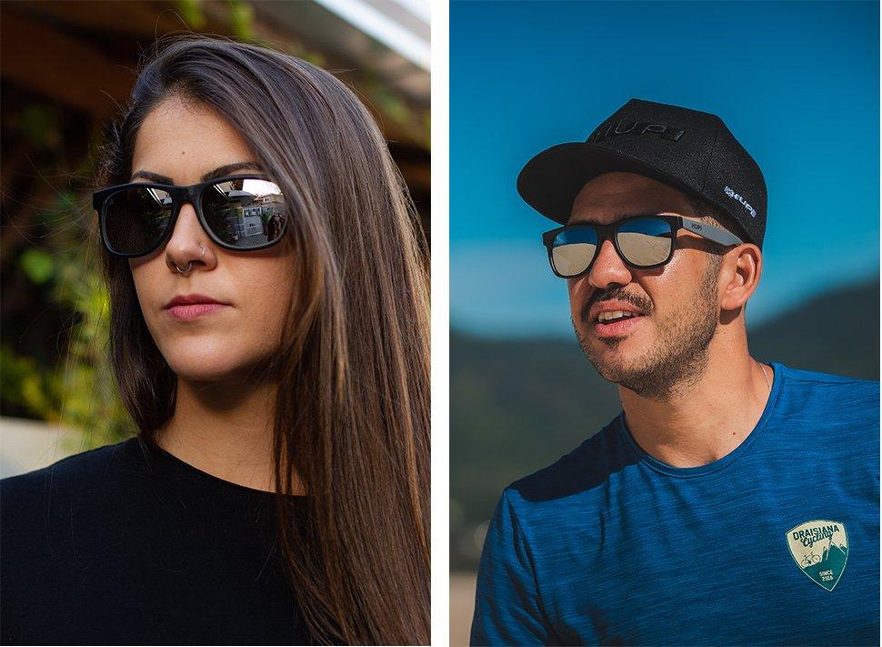 Óculos de Sol HUPI Brile Armação Preto/Cinza Lente Prata