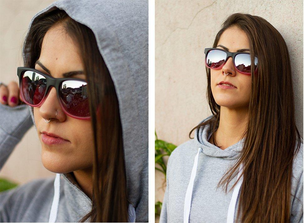 Óculos de Sol HUPI Brile Armação Preto/Rosa Lente Rosa Espelhado