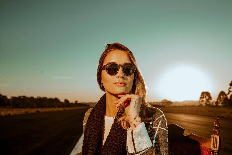 Óculos de Sol HUPI Kona Preto Fosco Lente Verde Espelhado