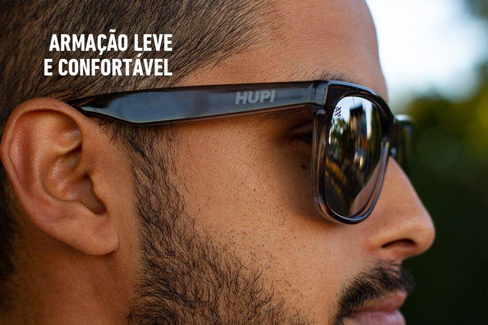Óculos de Sol HUPI Luppa Armação Cinza Cristal Lente Prata