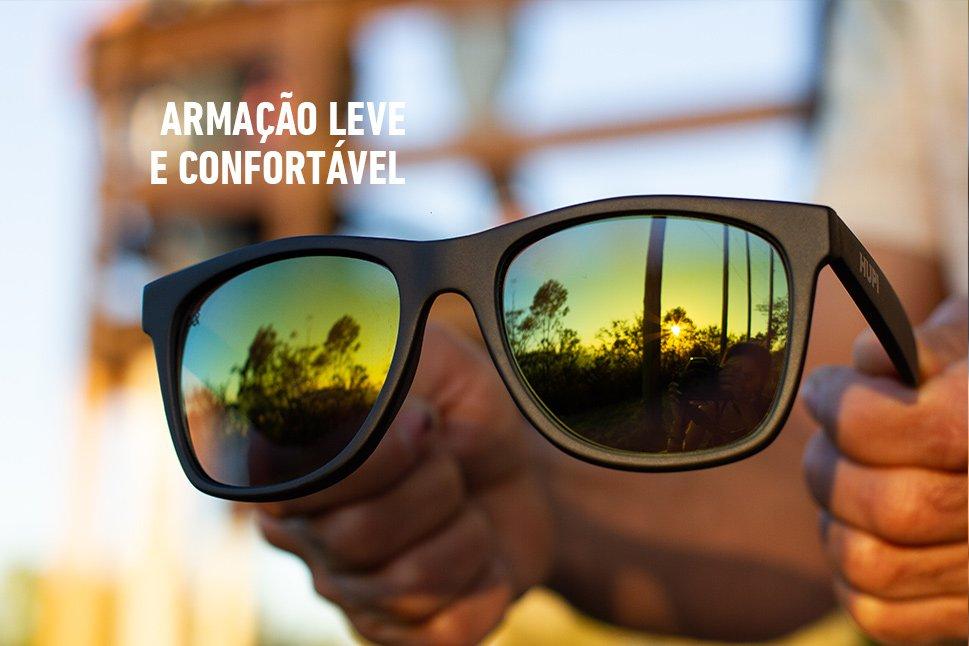 Óculos de Sol HUPI Luppa Armação Preto Fosco Lente Verde Espelhado