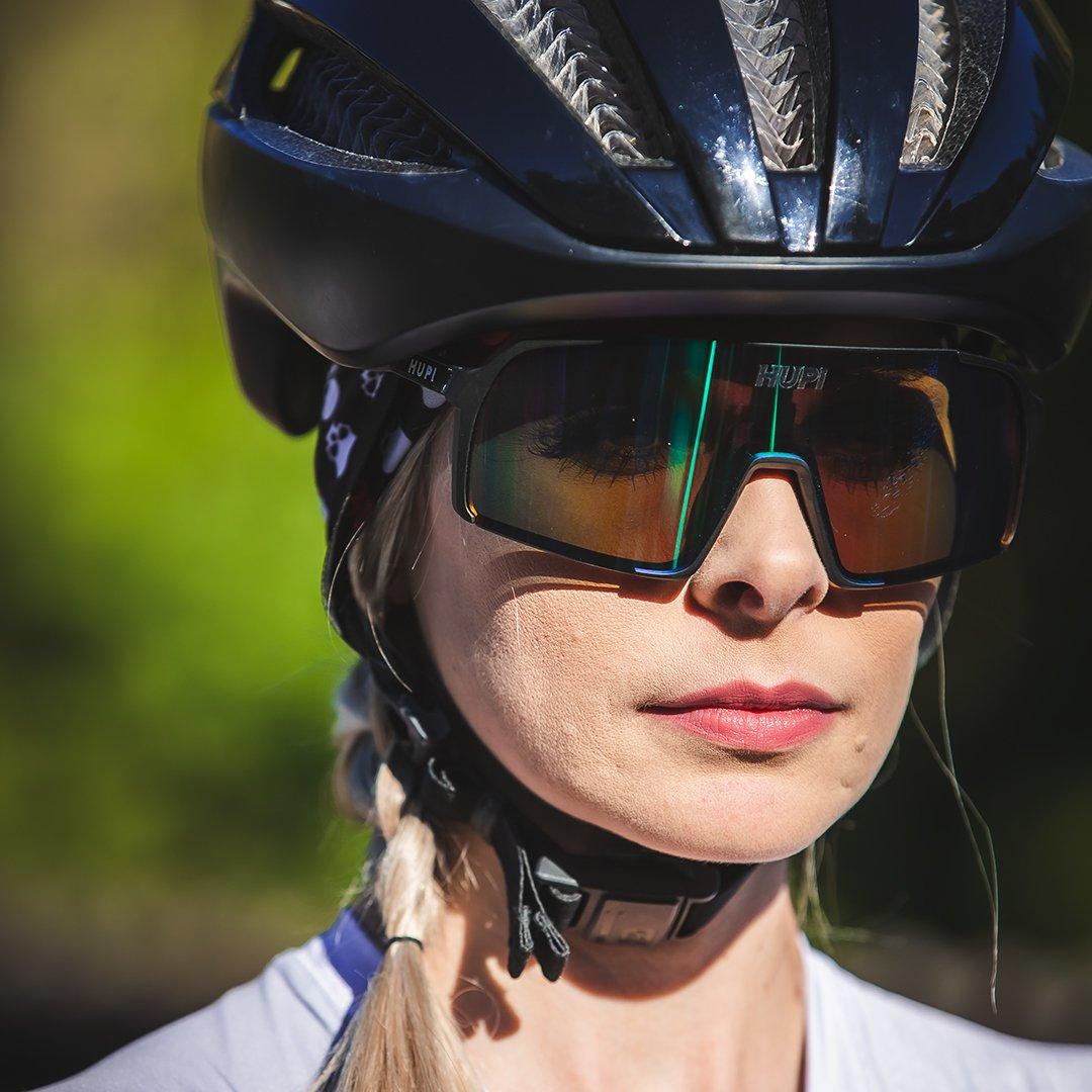 Óculos de Sol  HUPI Andez Preto/Verde - Lente Verde Espelhado