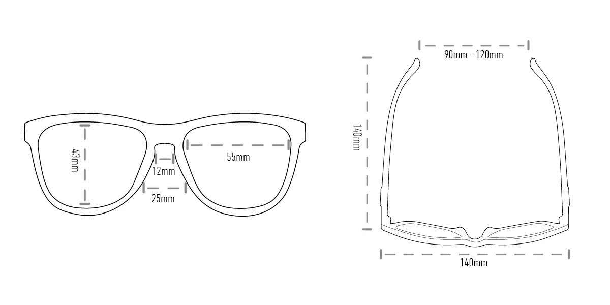 Óculos de Sol HUPI Brile Armação Preto/Azul Lente Azul Espelhado